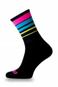 Skarpetki kolarskie PINK FLUO STRIPES BLACK II