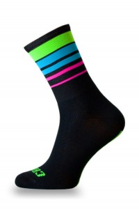 Skarpetki kolarskie GREEN FLUO STRIPES BLACK